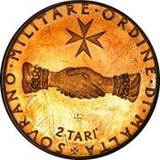 Malta 2 Tari Angelo (FAO) 1968 Proof (1 millimeter thickness) X# 23 SOVRANO ∙ MILITARE ∙ ORDINE ∙ DI ∙ MALTA 2 TARI coin reverse