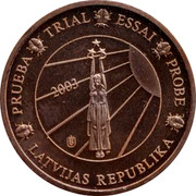 Latvia 2 ¢ Trial Essai 2003 PRUEBA TRIAL ESSAI PROBE LATVIJAS REPUBLIKA 2003 coin obverse