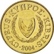 Cyprus 20 Cents Type 2 coat of arms 2004 KM# 62.2 CYPRUS ΚΥΠΡΟΣ KIBRIS 1960 2001 coin obverse
