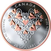 Canada 20 Dollars Best Wishes on Your Wedding Day 2019 CANADA 20 DOLLARS MARRIED IN 2019 MARIAGE EN 2019 coin reverse