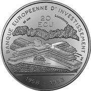 Luxembourg 20 ECU 35th Anniversary European Investmentbank 1993 Proof X# 29 BANQUE EUROPEENNE D'INVESTISSEMENT 20 ECU 1958 - 1993 coin reverse