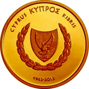 Cyprus 20 Euro 50th Anniversary of the Central Bank of Cyprus 2013 Proof KM# 100 ΚΥΠΡΟΣ CYPRUS KIBRIS 1963 - 2013 coin obverse