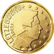 Luxembourg 20 Euro Cent 1st map 2002 (u) Proof KM# 79 LËTZEBUERG 2002 GC coin obverse