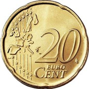 Luxembourg 20 Euro Cent 1st map 2002 (u) Proof KM# 79 20 EURO CENT LL coin reverse