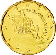 Cyprus 20 Euro Cent Kyrenia ship 2008 KM# 82 ΚΥΠΡΟΣ ∙ 2008 ∙ KIBRIS coin obverse