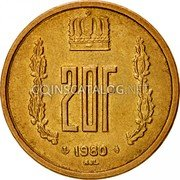 Luxembourg 20 Francs 1980 KM# 58 Standard Coinage Resumed coin reverse