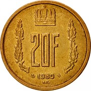 Luxembourg 20 Francs 1980 KM# 58 Standard Coinage Resumed 20F 1980 NJL coin reverse