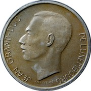 Luxembourg 20 Francs 1980 Proof KM# 58a Standard Coinage Resumed JEAN GRAND-DUC DE LUXEMBOURG J.N. LEFEVRE coin obverse