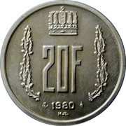 Luxembourg 20 Francs 1980 Proof KM# 58a Standard Coinage Resumed 20F 1980 NJL coin reverse