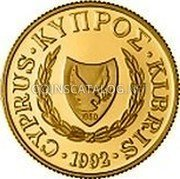 Cyprus 20 Pounds 1992 Proof KM# 68 Reform Coinage coin obverse