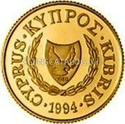 Cyprus 20 Pounds 1994 Proof KM# 93 Reform Coinage coin obverse