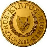 Cyprus 20 Pounds Cyprus's Accession to the EU 2004 Proof KM# 87 CYPRUS ∙ KYΠPΟΣ ∙ KIBRIS ∙ 2004 ∙ coin obverse