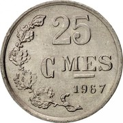 Luxembourg 25 Centimes 1967 KM# 45a.1 Standard Coinage Resumed 25 CMES 1967 coin reverse