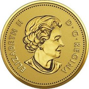 Canada 25 Cents 40th Anniversary of the Gold Maple Leaf 2019 ELIZABETH II D ∙ G ∙ REGINA coin obverse
