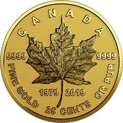 Canada 25 Cents 40th Anniversary of the Gold Maple Leaf 2019 CANADA 9999-9999 1919 2019 FINE GOLD 25 CENTS OR PUR coin reverse