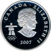 Canada 25 Cents Ice hockey 2007 Proof CANADA ELIZABETH II 2007 coin obverse