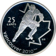 Canada 25 Cents Ice hockey 2007 Proof 25 CENTS VANCOUVER 2010 coin reverse