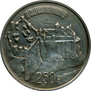 Luxembourg 250 Francs 1963 KM# 53.2 Standard Coinage Resumed LVCILINBVRHVC 250 F coin reverse