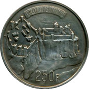 Luxembourg 250 Francs Millennium of Luxembourg City 1963 KM# 53.1 LVCILINBVRHVC 250 F coin reverse