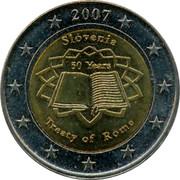 Slovenia 2E Treaty of Rome 2007 X# Pn46 2007 SLOVENIA 50 YEARS TREATY OF ROME coin reverse