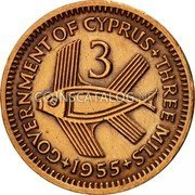 Cyprus 3 Mils 1955 KM# 33 Decimal Coinage coin reverse