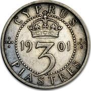 Cyprus 3 Piastres Victoria 1901 KM# 4 CYPRUS 1901 3 PIASTRES coin reverse
