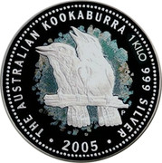 Australia 30 Dollars Kookaburra 2005 P THE AUSTRALIAN KOOKABURRA 1 KILO 999 SILVER 2005 P coin reverse