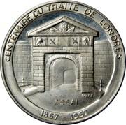 Luxembourg 40 Francs Centenarie du Traite de Londers 1967 (fr) Rare X# E10 CENTENAIRE DU TRAITE DE LONDRES N.J.L. ESSAI 1867 - 1967 coin reverse