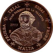 Malta 5 C Jean Parisot de la Valette 2003 UNC TRIAL ESSAI JEAN PARISOT DE LA VALETTE 2003 PRUEBA MALTA PROBE coin obverse