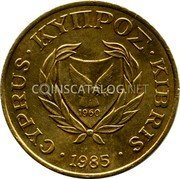 Cyprus 5 Cents 1985 KM# 55.2 Reform Coinage coin obverse
