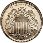 USA 5 Cents (Shield Nickel Pattern) IN GOD WE TRUST 18.66 coin obverse