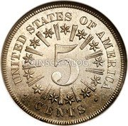 USA 5 Cents (Shield Nickel Pattern) UNITED STATES OF AMERICA 5 CENTS coin reverse