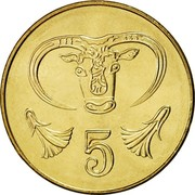 Cyprus 5 Cents Type 2 coat of arms 2004 KM# 55.3 5 coin reverse
