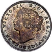 Canada 5 Cents (Victoria (Pattern)) KM# Pn3 VICTORIA D: G: REG: NEWFOUNDLAND coin obverse