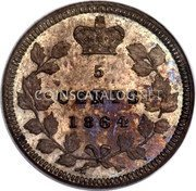 Canada 5 Cents (Victoria (Pattern)) KM# Pn3 5 CENTS 1864 coin reverse
