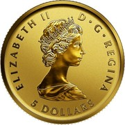 Canada 5 Dollars 40th Anniversary of the Gold Maple Leaf 2019 ELIZABETH II D • G • REGINA 5 DOLLARS coin obverse
