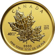 Canada 5 Dollars 40th Anniversary of the Gold Maple Leaf 2019 CANADA 1979/2019 40 YEARS/ANS 9999 FINE GOLD 1/10 OZ OR PUR coin reverse