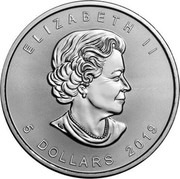 Canada 5 Dollars Grizzly Bear (Colored) 2019 ELIZABETH II 5 DOLLARS 2019 coin obverse