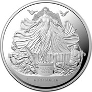 Australia 5 Dollars Treaty of Versailles 2019 PEACE 1919 AUSTRALIA coin reverse