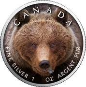 Canada 5 Dollars Wildlife - Grizzly Bear 2019 CANADA FINE SILVER 1 OZ ARGENT PUR coin reverse