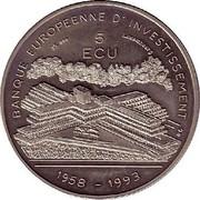 Luxembourg 5 ECU 35th Anniversary European Investmentbank 1993 X# 28 BANQUE EUROPEENNE D'INVESTISSEMENT 5 ECU 1958 - 1993 coin reverse