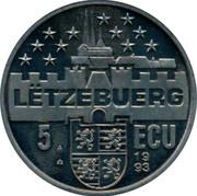 Luxembourg 5 ECU Joseph Bech 1993 UNC X# 35 LËTZEBUERG 5 ECU 1993 coin reverse