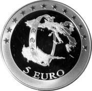 Cyprus 5 Euro The accession of Cyprus to the EMU 2008 Proof KM# 88 5 EURO coin reverse