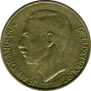 Luxembourg 5 Francs 1986 KM# 60.1 Standard Coinage Resumed 19 86 5F IML coin obverse