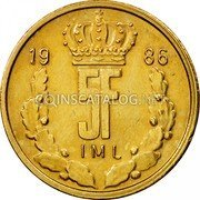 Luxembourg 5 Francs 1986 KM# 60.2 Standard Coinage Resumed coin reverse