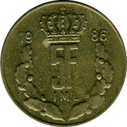 Luxembourg 5 Francs 1986 KM# 60.1 Standard Coinage Resumed JEAN GRAND-DUC DE LUXEMBOURG J.N.LEFEVRE coin reverse