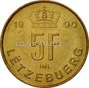 Luxembourg 5 Francs 1990 KM# 65 Standard Coinage Resumed coin reverse