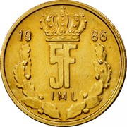 Luxembourg 5 Francs Jean 1986 KM# 60.2 19 86 5F IML coin reverse