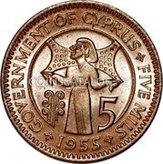 Cyprus 5 Mils 1955 KM# 34 Decimal Coinage coin reverse