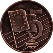 Latvia 5 ¢ Trial Essai 2003 5 ¢ SPECIMEN coin reverse